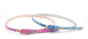 Flower Printing Design Young Lady′s Skinny PU Belt Ky5800 pictures & photos