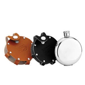 Round Stainless Steel Hip Flask with Leather Bag (QL-YX07A)