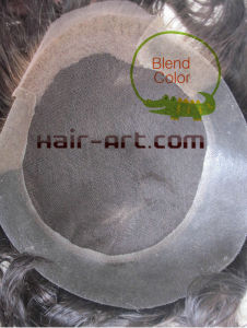 Swiss Lace with PU and Bleach Knot /Indian Hair/ Toupee pictures & photos