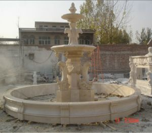 Beige Marble Stone Dolphin Water Fountain pictures & photos