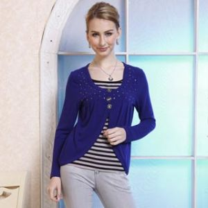 Ladies′ Striped Blouse 11s195