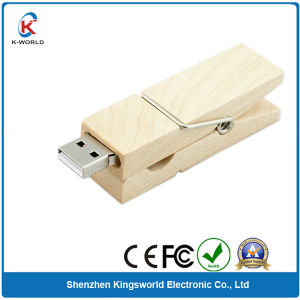 Original Chip Wood Clip USB2.0 Wood USB Flash Drive (KW-0217) pictures & photos