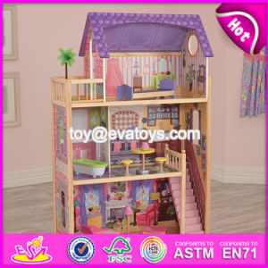 New Design Children Luxurious and Attractive Toys Gifts Wooden Modern Dollhouse W06A223 pictures & photos