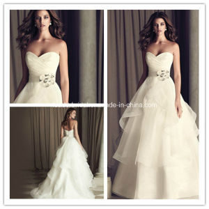 Ivory Strapless Empire Sash Piping Organza Wedding Dress Yao99 pictures & photos