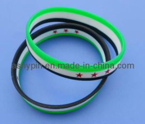 Custom Print Silicone Bracelets, Syria flag design silicone wristbands pictures & photos