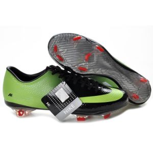 Leather Football Shoe in Green with Black pictures & photos