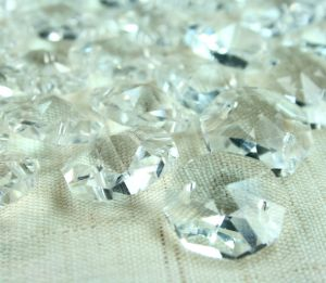 Crystal Prism Button 14mm Clear Octagon Faceted Radiant Cut 2 Hole Button Link Beads pictures & photos