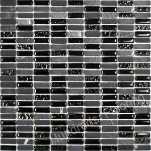 Black Mosaic Tile, Stone Mix Glass Mosaic (HGM252) pictures & photos