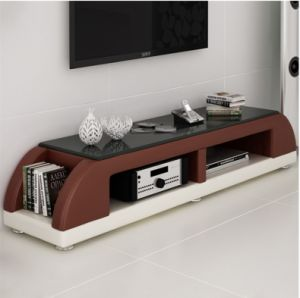 2016 Modern Style Glass Top Leather TV Stands for Livingroom Use (TV016) pictures & photos