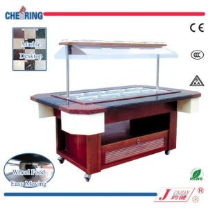 Cheering Marble Table Wooden Body Salad Bar for Buffet pictures & photos