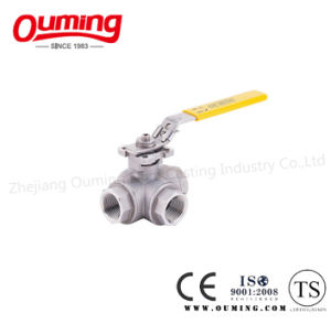 Three Way Threaded End Ball Valve with Lock pictures & photos
