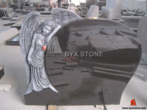 Black Granite Antique Angel Carving Headstone Monument pictures & photos