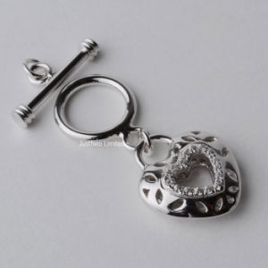 Solid 925 Sterling Silver Necklace Bracelet Clasp Rhodium Plated CZ Mounted Heart Toggle Buckle Jewelry Components