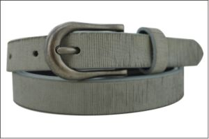 Pure Grey Striolate Leather Lady′s Belt pictures & photos