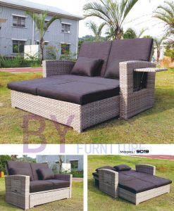 Couple Adjustable Seats Back Outdoor Garden PE Rattan Sofa pictures & photos