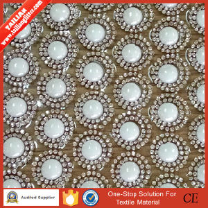 2016 Tailian Strass Motif Hotfix Crystal Rhinestone with 8mm Round Pearls Beads Net Sheet Mesh pictures & photos