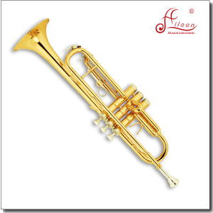 Standard Model Gold Lacquer Bb Key Popular Trumpet (TP8190N) pictures & photos