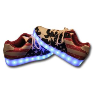 Popular Fashion Flat LED Casual Shoes with LED Tape pictures & photos