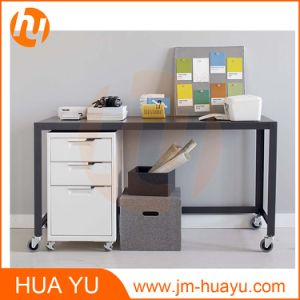 Powder Coat Office Furniture Black Metal Rolling Console Table pictures & photos