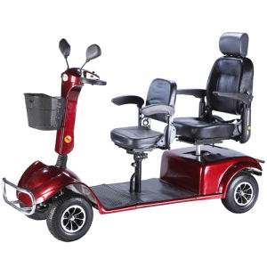 Four Wheel Electric Handicapped Scooter with Double Seat pictures & photos