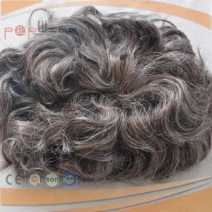 Curly Black Hiar Mixed Grey Hiar PU Coated Mens Toupee pictures & photos