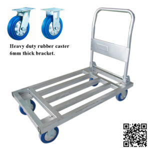 500kg Steel Tube Folding Hand Trolley with Blue Rubber Caster pictures & photos