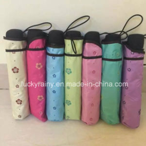 Three Folding Manual Open Color Coated Umbrella with Whole Printing