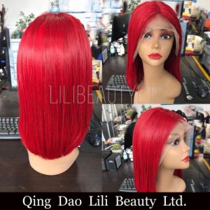 Natural Straight Lace Front Human Hair Wigs with Baby Hair Brazilian Frontal Hair Wig Pre Plucked Honey Queen Remy Red/Yellow/613/Purple pictures & photos