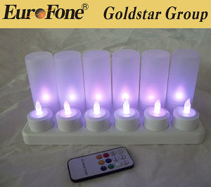 12 Piece Set Flameless Rechargeable Tea Light Candles with Frosted Plastic Cup pictures & photos