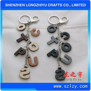 Leather Keychain Leather Letters Keychain with Metal Ring pictures & photos