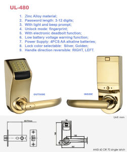 Password Lock with Mechanical Key for Access Control Door (UL-480) pictures & photos