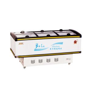 528L Showcase Display Sliding Door Island Freezer for Supermarket
