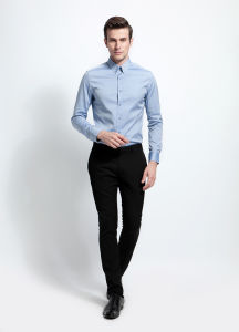Slim Fit Button Down Collar Custom Light Blue Men Shirt pictures & photos