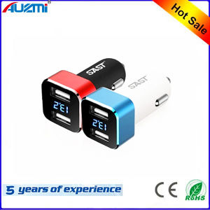 Portable 2USB Car Charger with Display