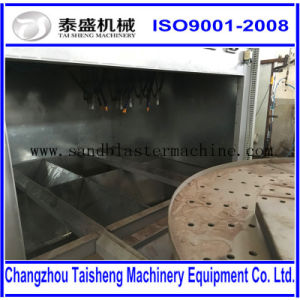 Sandblast cabinet with turntable for blasting heavy parts