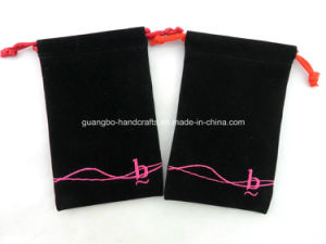 Custom Embroidery Drawstring Alcantara Pouches pictures & photos