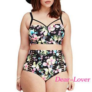 Plus Size Boho Tropical High Waist Bikini Swimsuit pictures & photos