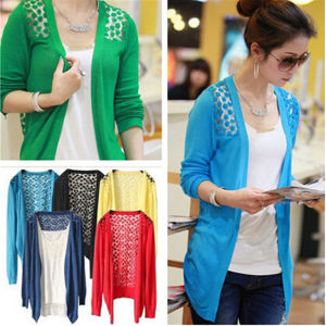Womens Long Sleeve Cardigan Knitwear Crochet Knitted Sweater pictures & photos
