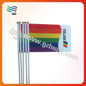 OEM New Cheap Hand Signal PE PVC Coated Parper Embroidery Flag (HYHF-AF063) pictures & photos