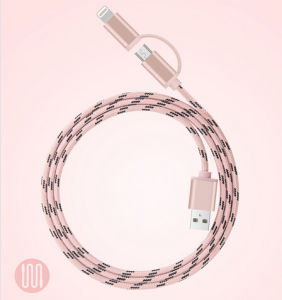 USB Data Cable 2 in 1 Metal Housing Braided Cable for Samsung and iPhone