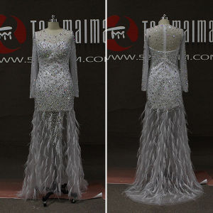 Sparkly Rhinestones Feathers Mermaid Long Sleeve Prom Dresses (TM-PD205)