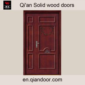 Solid Wood Oak Unequal Interior Double Entrance Door pictures & photos