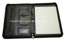 Custom Logo Zip A4 Junior Leather Padfolio with Calculator pictures & photos