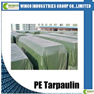 PE Woven Fabric for Sunshade, PE Film Laminated Tarps, PE Roll Tarpaulin with Blue Laminated pictures & photos