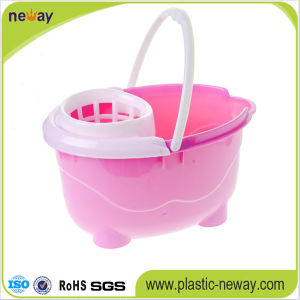 Squeeze Plastic Mop Bucket with Wheels pictures & photos