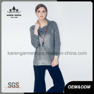 Womens Turtleneck Grey Metallic Knitted Sweater pictures & photos