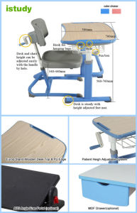 Macao International School Hot Item Student Desk Chair Hya-103 pictures & photos