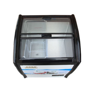 Sliding Toughened Coating Glass Double Doors Ice Cream Freezer pictures & photos