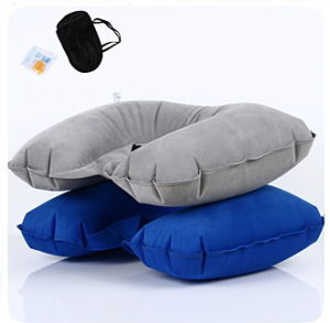 Flocking PVC Inflatable Travel Pillow pictures & photos