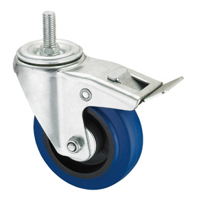Middle Duty Series Caster - Threaded W/ Brake - Blue Elastic Rubber (roller bearing) pictures & photos